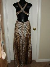 LA FEMME Tan Black Animal Print Sequin Beaded Prom Cocktail Long Formal Dress 00