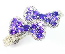 HAIR PIN Clip Crystal Swarovski Element Cubic Zirconia Bowknot Barrette Purple