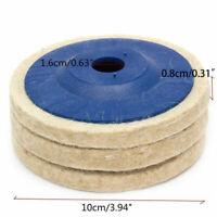 "3pcs 100mm 4"" Wool Buffing Angle Grinder-Wheel Felt Polishing Disc/Pad Kit"