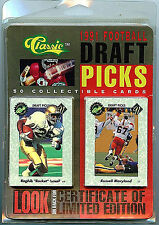 1991Classic NFL Football Draft Picks Trading 50 Card Set New with COA Z6