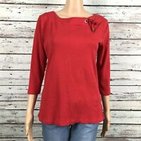 Ellen Tracy Tie Boat Neck 3/4 Sleeve Shirt Top LARGE Bright Red Cotton Stretch