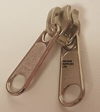Qty 10 YKK Zip Sliders, Zip Pullers, Silver Size10 Large Double Pullers  (A550)