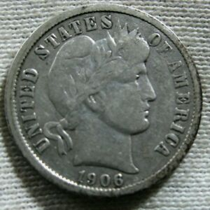 Coin 1.00 Shipping 1906-D Antique Solid Date Vintage Silver Barber Dime Ten Cent Piece Authentic U.S