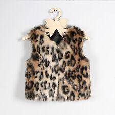 Kids Girls Faux Fur Leopard Print Vest Coat Waistcoat Thicken Baby Jacket