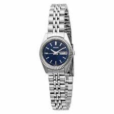 Pulsar PN8001 Women's Dress Silver-Tone Band Day/Date Blue Dial Watch