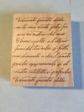Hero Arts 2000 Rubber Stamp S1832 Italian Poetry Background *UNUSED*