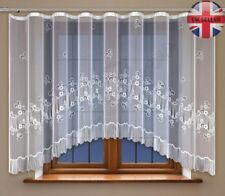 Jacquard floral net curtain with curtain tape WHITE NEW 160cm x 300cm