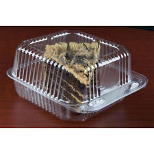 """6"""" x 6"""" x 3"""" Clear Hinged Lid Plastic Container 500/Cs - Fast Shipping !"""