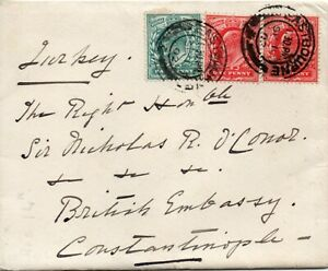 1902 Sg 215/219 on 1902 Cover - Eastbourne to The British Embassy Constantinople