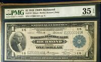 SERIES 1918 $1 PMG35 EPQ CHOICE VF, FEDERAL RESERVE BANK NOTE RICHMOND VA, 3464