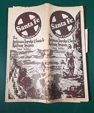 Vintage Atchinson Topeka Santa Fe Railroad Time Table June 11, 1939