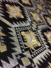 Black Viscose Rayon Metallic Silver Gold Christmas Jersey Stretch Dress Fabric