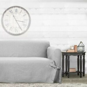 NEW Surefit Relaxed Fit Sofa Slipcover Farmhouse Basketweave Grey fits 74-96 in