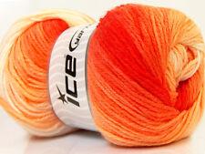 Lot of 4 x 100gr Skeins Ice Yarns MAGIC LIGHT Wool Red Orange Yellow