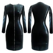 SEXY Reißverschluss Damen Kunstleder Leder Slim Club Bodycon Party Kleid Schwarz