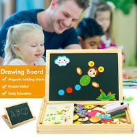 Educational Wooden Magnetic Puzzle Toys Drawing Boards Learning Activity Toy Box
