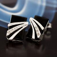 Onyx Silber 925 Ohrringe Damen Schmuck Sterlingsilber S321