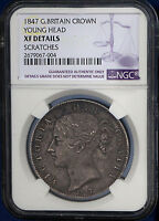 1847 UK Great Britain Silver Crown KM# 741 NGC XF Low Mintage : 141,000
