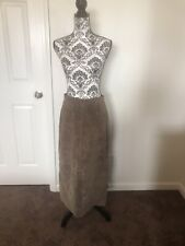 SONOMA BROWN SUEDE LEATHER MIDI LONG SKIRT TAUPE SLIT MAXI SZ M 8 10