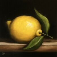 "Lemon Jane Palmer Art original oil painting 8x8"" Still Life Realism"