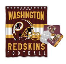 Washington Redskins 4PCS Bathroom Rugs Shower Curtain Bath Mat Toilet Lid Cover