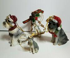 Schnauzer Dog Gray Figures Christmas Ornaments Set Of 4