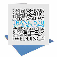 Thank You For Giving Me Away wedding Word Card UK FREE POST Father of the Bride