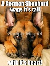 "GERMAN SHEPHERD Wags It's Tail Dog Fridge Magnet 4"" x 3"""