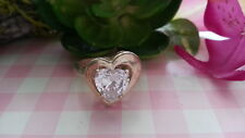 Beautiful Big Heart white Cubic Zirconia Solid Ring 925 Silver  *Size 6.5*K097