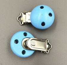 """5 Holz Baby Schnuller Clip Runde  blau 4.4cm x 2.9cm (1 6/8 """"x1 1/8"""")"""