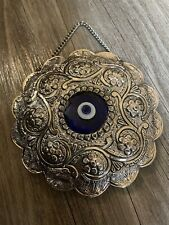 Vintage Antique Sterling 900 Coin Silver Turkish Wedding Mirror Ornate Eye 4.75�