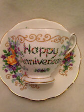 "Queen Anne English Bone China Cup & Saucer ""Happy Anniversary"" Candles/Flowers"