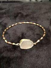Agate Druzy & Titanium Swarovski Crystal Gold Wire Wrapped Bracelet