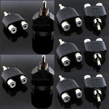 10pcs CCTV Camera RCA 1 Male to 2 Female Coaxial Cable Adapter Spliter Connector