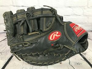 "RAWLINGS 12.5"" Black Leather Baseball First Baseman 1st Base Mitt Glove LH"
