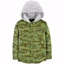 CARTERS CAMO KIDS/BOYS BUTTON-DOWN TOP W/ HOOD FALL /...