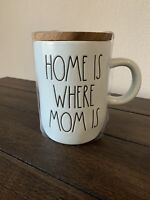 Rae Dunn by magenta HOME IS WHERE MOM IS Mug With Wooden Coaster Top - Blue