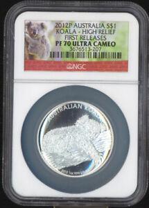 Australia 2012P $1 Silver Koala High Relief PF70 Ultra Cameo NGC COA Pouch