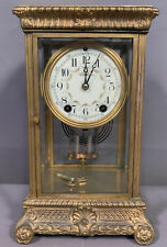 Antique SETH THOMAS Old CRYSTAL REGULATOR Style BRASS & GLASS Case MANTEL CLOCK