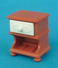 PlayMobil Brown Nightstand, Night Table w/ White Drawer, house bedroom furniture