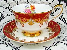 PARAGON ORNATE GOLD DESIGNS FLORAL MAROON TEA CUP AND SAUCER