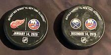 New York Islanders vs Detroit Red Wings/Buffalo Sabres Game Used Warm Up Pucks