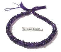 """1 Strand Natural Amethyst Smooth Plain Rondelle 8-10mm Gemstone Beads 9""""Inch"""