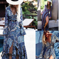 Womens Floral Maxi Dress Party Long Dress Summer Beach Sundress Fashion NEW
