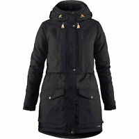 Fjallraven Women's Singi Wool Padded Black Parka Coat Size Medium 2142