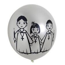 10 Ballons Communion Métal Sérigraphiés Blanc Ø 28 Cm