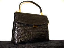 Krokotasche,schwarz,IRV,Krokodilleder Tasche, Grace Kelly Style,Croc Leather Bag