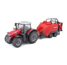 Massey Ferguson Tractor & Baler 8740S 1:50 Scale Toy Model Farm Diecast Bburago