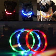 Einstellbar S - XL Hunde LED Nacht Halsband USB Gum Leuchthalsband Lichtschlauch
