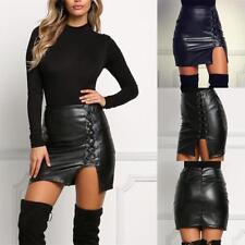 Fashion soft Women High Waist Lace Up PU Leather Pencil Short Mini Skirt  pro